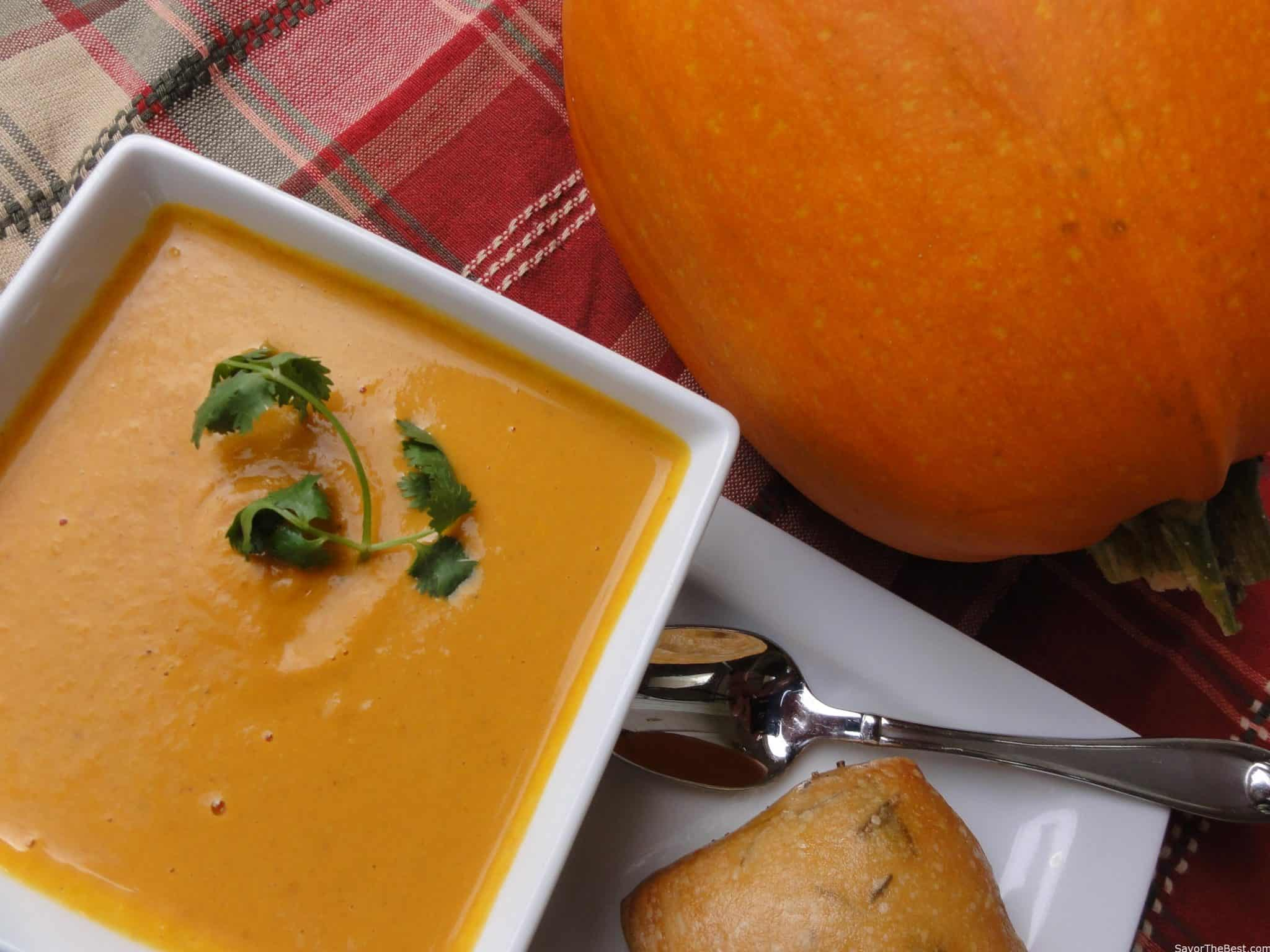 Thai pumpkin soup savor the best video thai pumpkin soup adapted from my vitamix whole foods recipe book forumfinder Choice Image