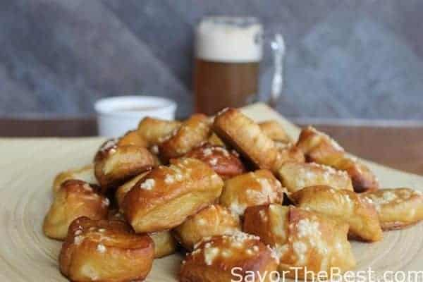 Bite sized portions of pretzels baked with beer to ramp up the flavor.