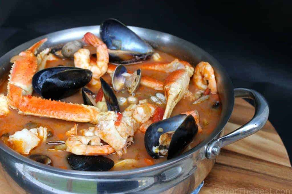 A serving dish of Seafood Stew