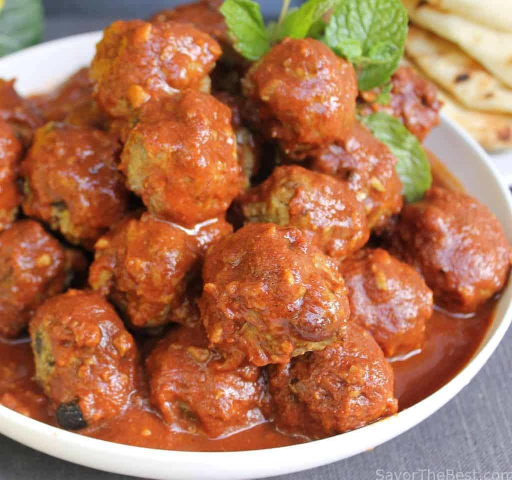 Moroccan Lamb Meatballs With Spicy Tomato Sauce