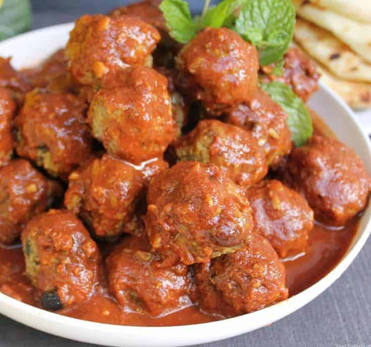 Moroccan lamb meatballs in a spicy tomato sauce