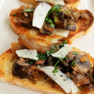 Bruschetta with Caramelized Onions and Mushrooms