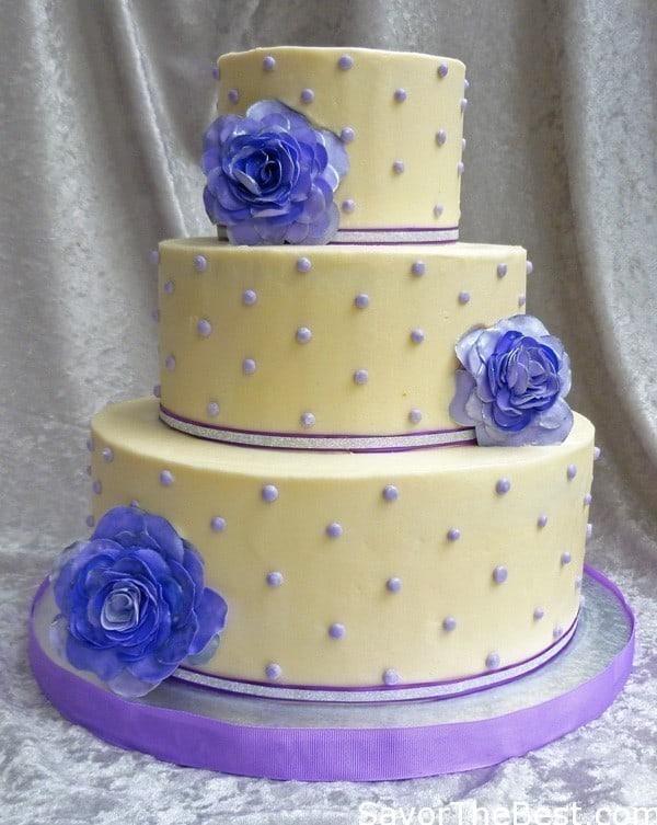 purple dot wedding cake