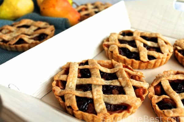 Brandied cherry and pear tartlets