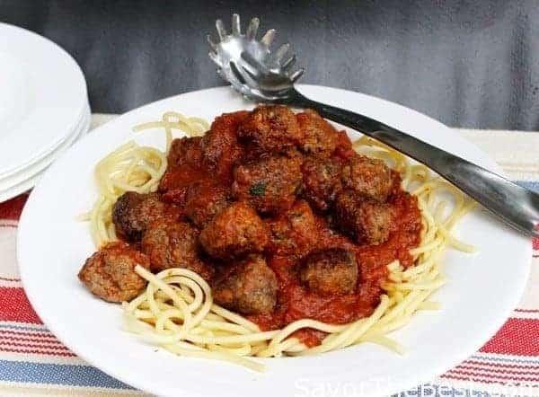 Italian Meatballs and Spaghetti with Tomato-Garlic Sauce - Savor the ...