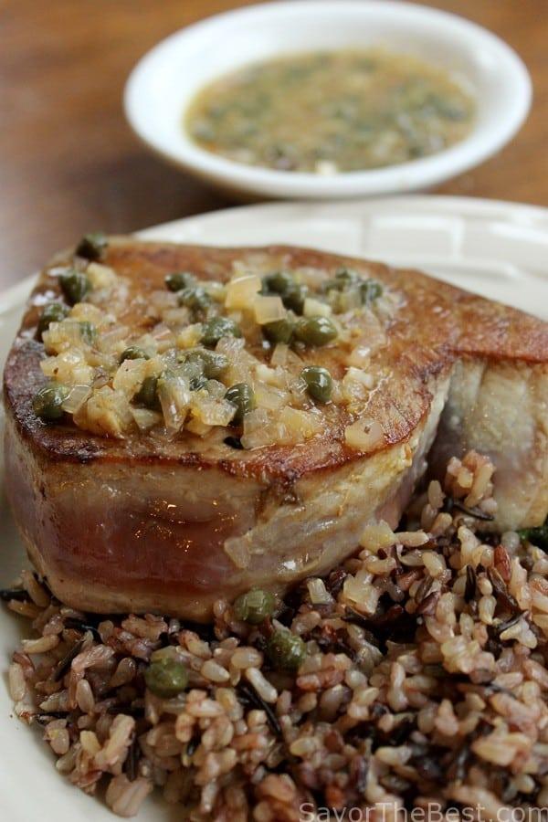 Ahi Tuna with Lemon Caper Sauce
