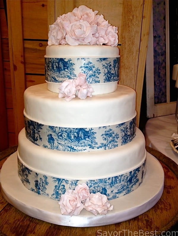 Blue Toile Wedding Cake Design Savor The Best