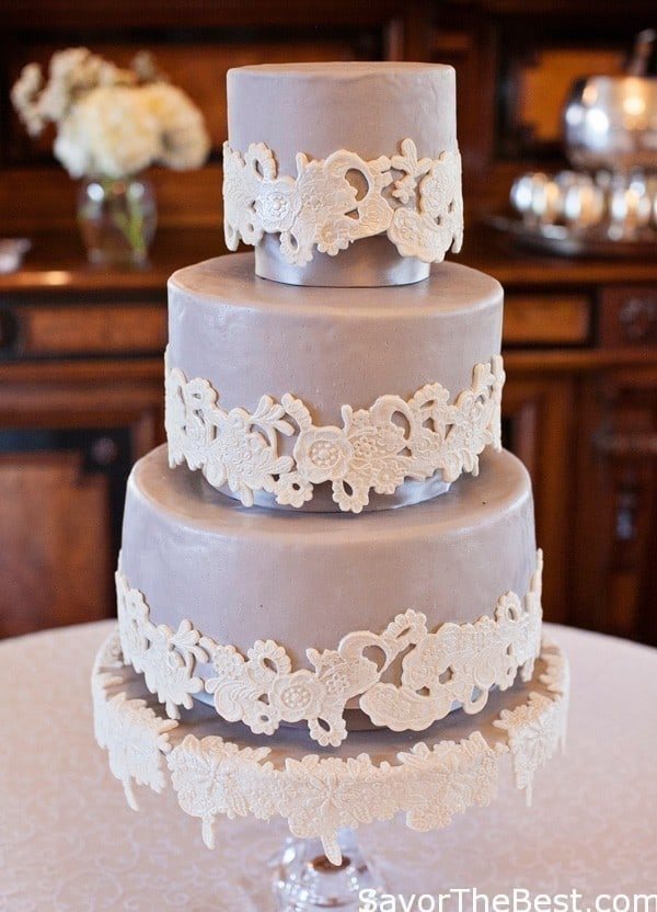 Lace Applique Wedding Cake Design