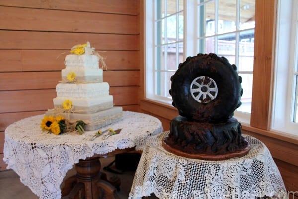 Groom's cake with wedding cake