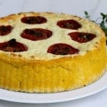 Polenta Crust, Roasted-Tomato Quiche, with Goat Cheese and Oregano Pesto