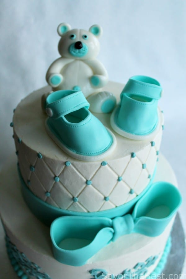 Baby Shower Cake Design with Fondant Baby Shoes and Teddy ...