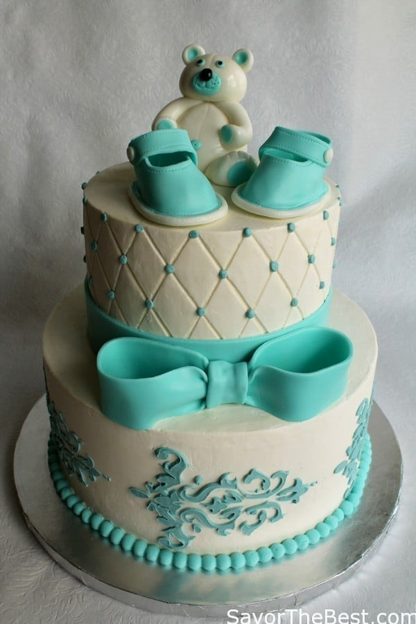 Cake Design Baby Shower : Baby Shower Cake Design with Fondant Baby Shoes and Teddy ...