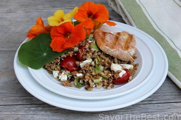 Toasted-Farro-Salad-with-Nasturtium-Flowers