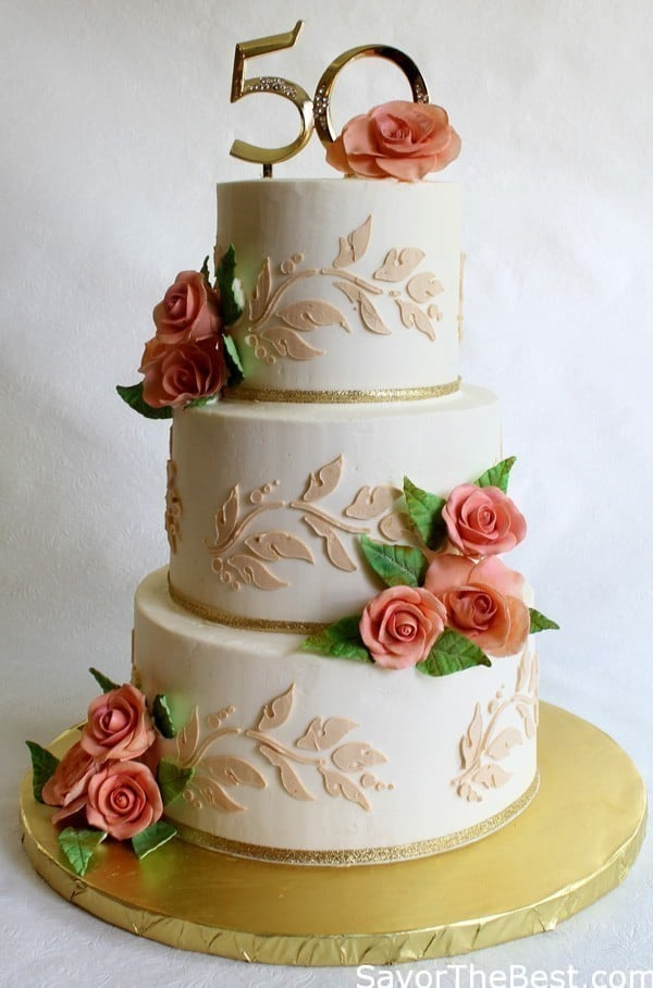 Design Of Cake For Anniversary : 50th Anniversary Cake Design - Savor the Best