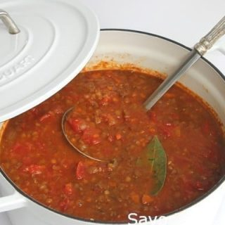 Lentil-Sausage soup, full of vegetables, and full of flavor.