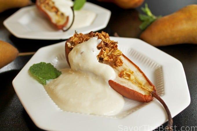 honey nut baked pears with ricotta yogurt cream