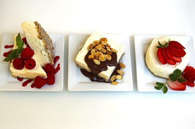 Semifreddo Trio, raspberry, amaretto chocolate and strawberry
