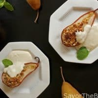 Baked Pears with Ricotta-Yogurt Cream