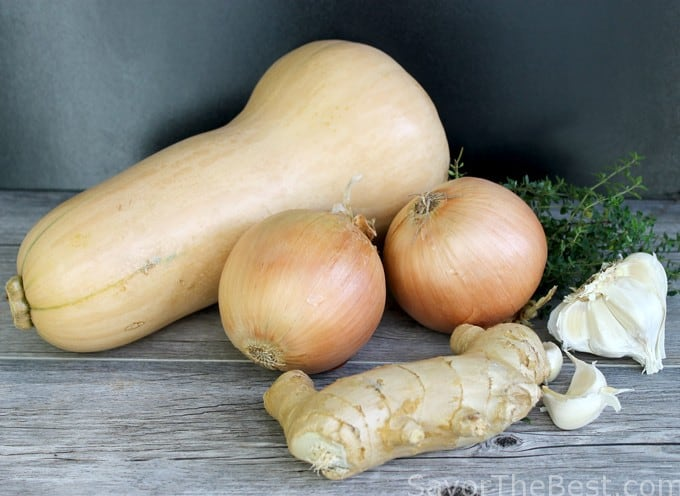 butternut, onions, ginger, and garlic