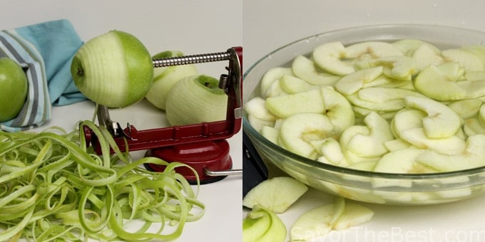 prepping apples for tart