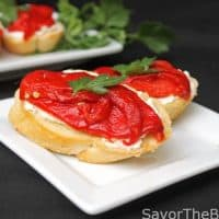 Goat Cheese-Sweet Red Pepper Bruschetta