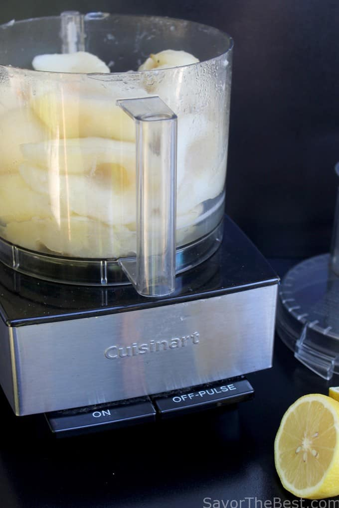 pears in a food processor