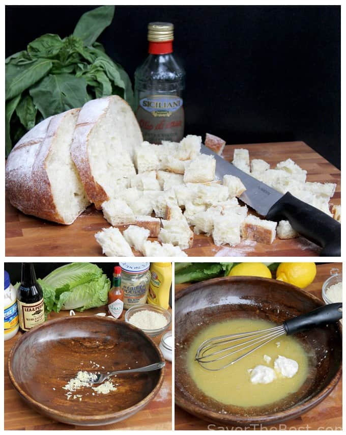 Homemade Croutons and Caesar Salad Dressing