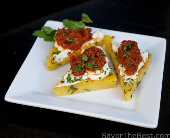 Polenta Points with Sun Dried Tomato Pesto