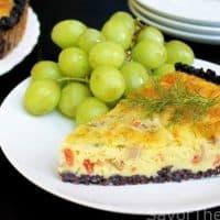 Mushroom-Smoked Salmon Quiche with Black Rice Crust