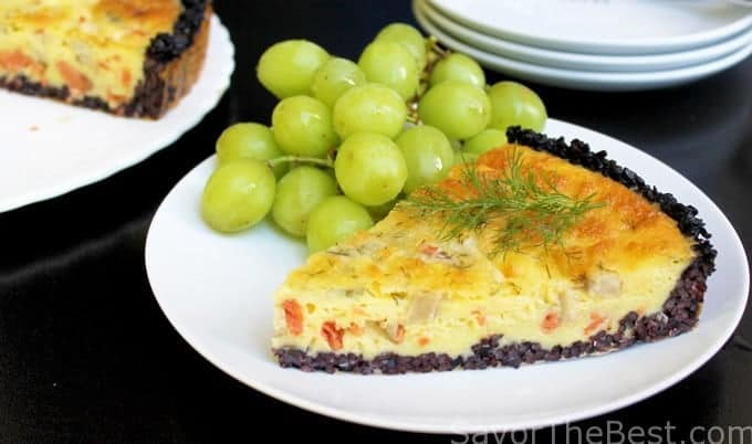 Mushroom-Smoked Salmon Quiche with Black Rice Crust
