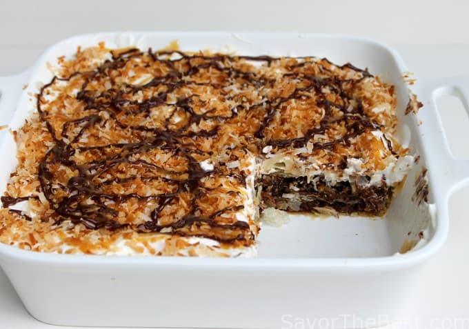 Girl Scout Samoas Cookie Dessert lasagna