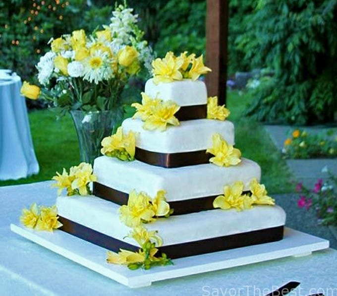 brown and yellow wedding cake