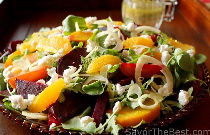 beet watercress and arugula salad