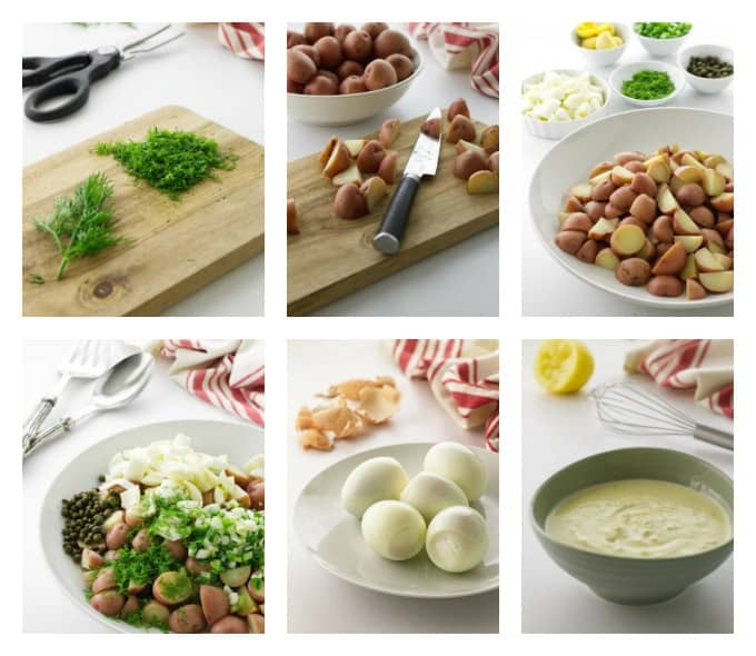 collage of 6 process photos for a fresh dill potato salad recipe