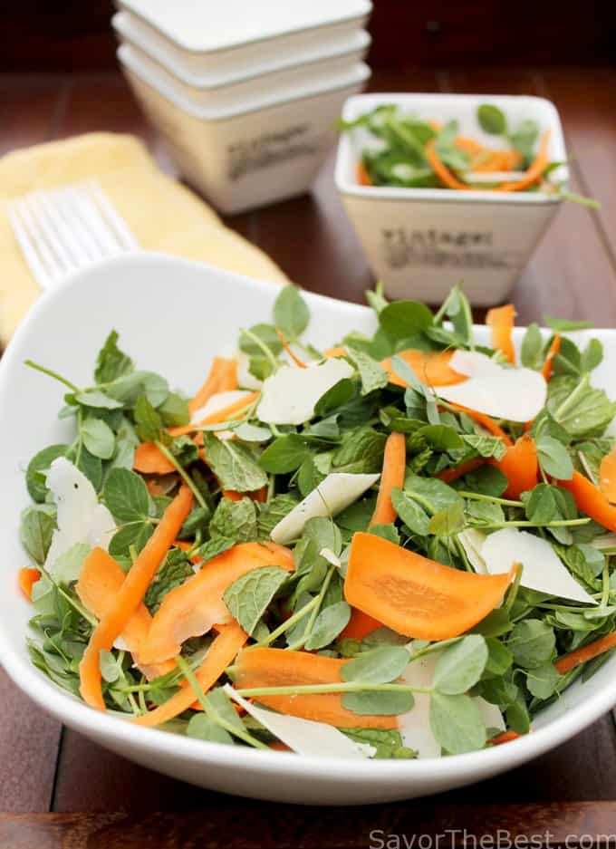 Pea Shoot, Mint, Carrot Salad with Creamy Lemon Vinaigrette - Savor ...