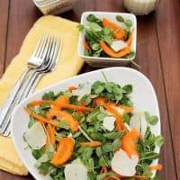 Pea Shoot, Mint, Carrot Salad with Creamy Lemon Vinaigrette