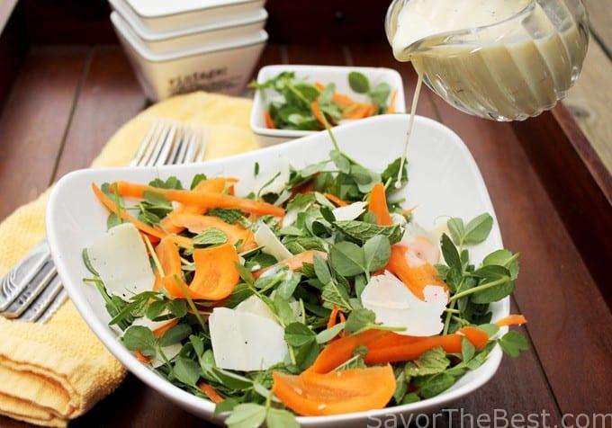 pea shoot, mint, carrot salad