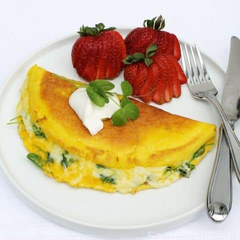 Pea Shoots and Swiss Cheese Omelet