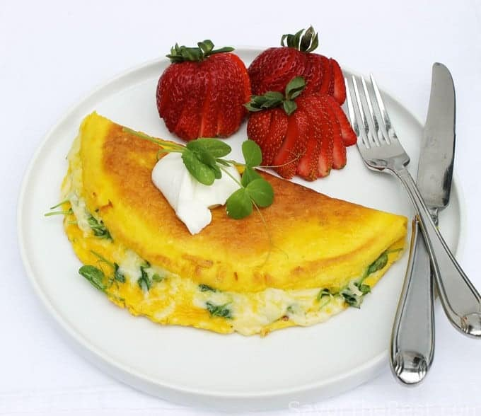 Pea Shoot and Swiss Cheese Omelet