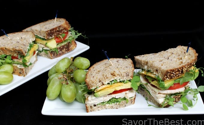 Pea Shoots with Chicken Sandwich