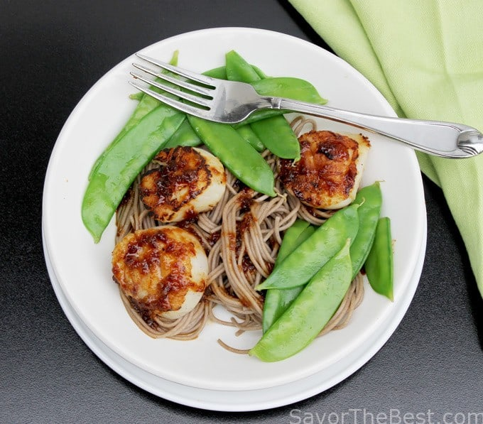 Seared Sea Scallops, Snow Peas and Soba Noodles