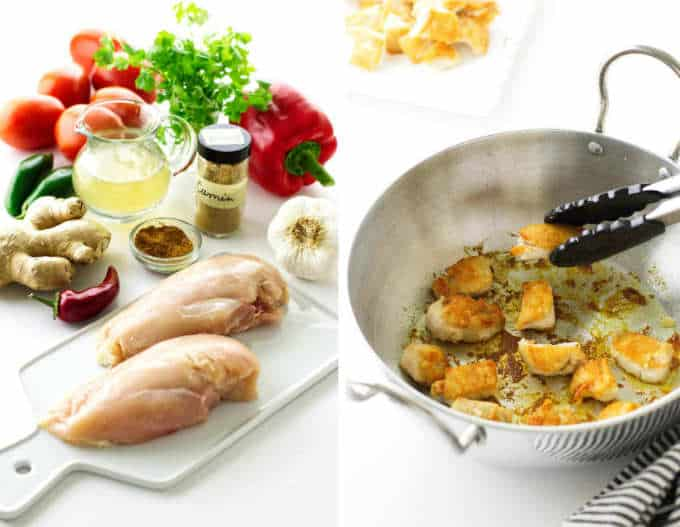 Collage showing the ingredients needed for chicken Karahi and the steps for cooking the chicken.