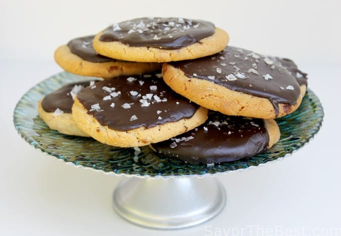 Salted Chocolate=Glazed Peanut Butter Cookies