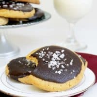 Salted Chocolate-Glazed Peanut Butter Cookies