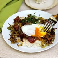 Cream of Rice with Bacon, Leeks and Poached Eggs