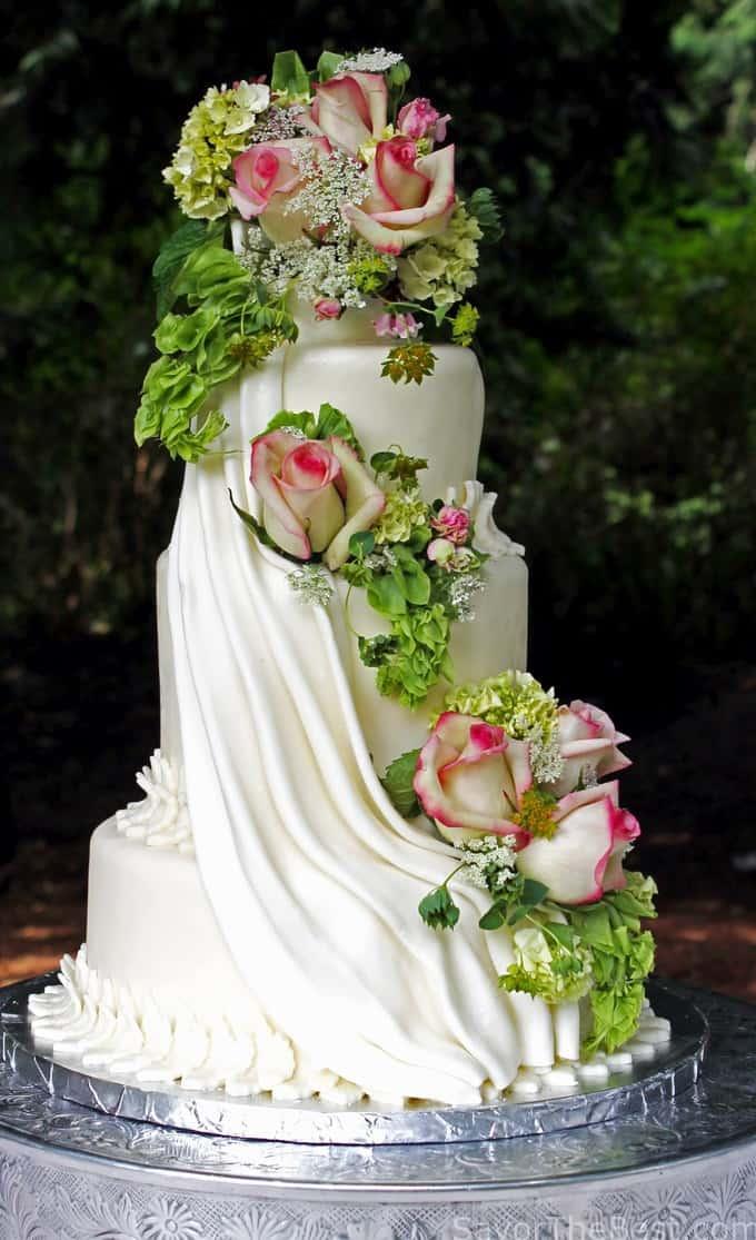 Cascading flowers cake design savor the best for Garden wedding cake designs