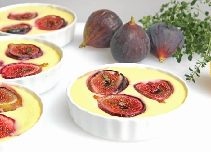 Honey-Thyme Roasted Figs in Goat Cheese Custard