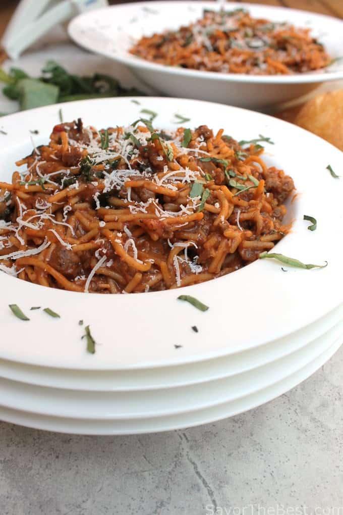 one pot basil beef spaghetti