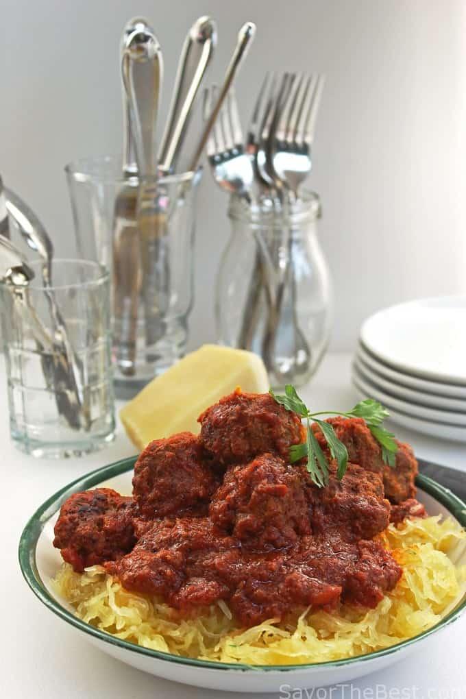 Spaghetti Squash with Turkey Meatballs