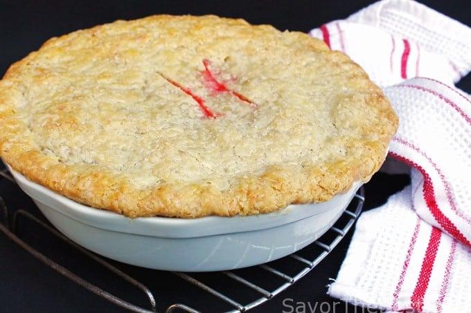 strawberry rhubarb pie with double crust